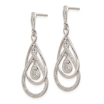 Sterling Silver Rhodium Plated Diamond Post Dangle Earrings