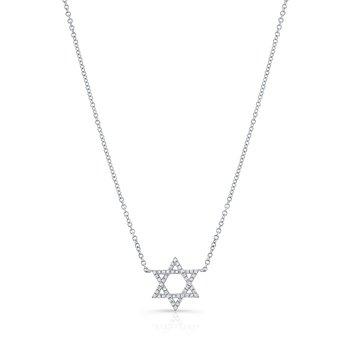 White Gold Piety Petite Star Of David Necklace
