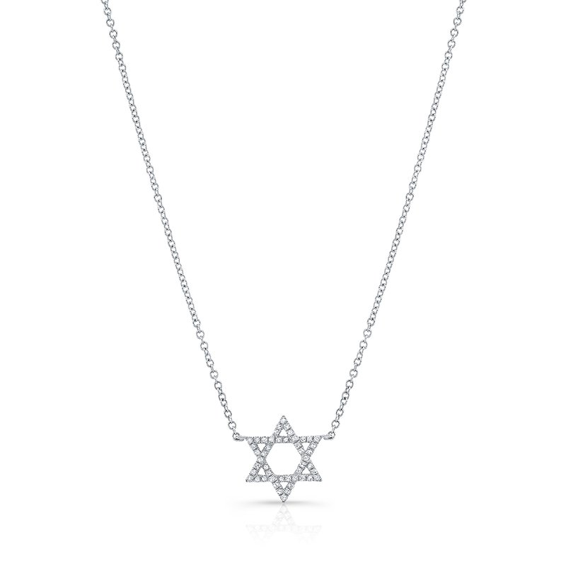 MK Diamonds White Gold Piety Petite Star Of David Necklace