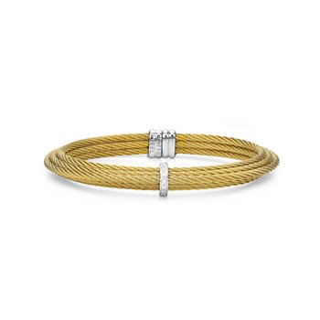 Yellow Cable Tiered Stackable Bracelet with Single Diamond Station set in 18kt White Gold