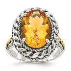 Shey Couture Sterling Silver w/14k Antiqued Citrine Ring