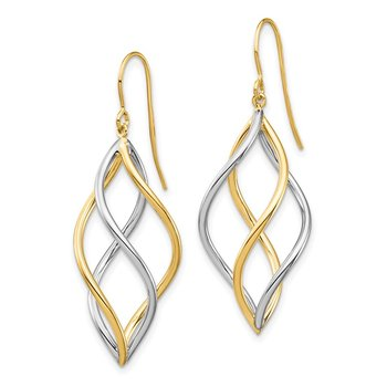 14K Two-Tone Twisted Polished Dangle Shepherd Hook Earrings