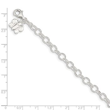 Sterling Silver Small Oval Rolo Link with Butterfly Anklet