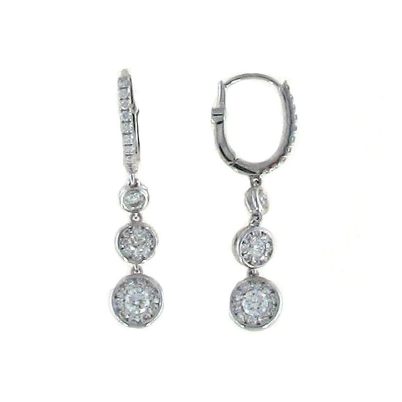 Roberto Coin 18Kt White Gold Diamond Cluster Drop Earrings