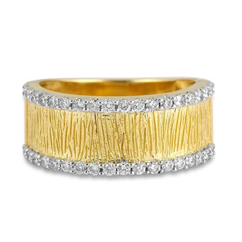 14K YG Textured Diamond Wedding Band