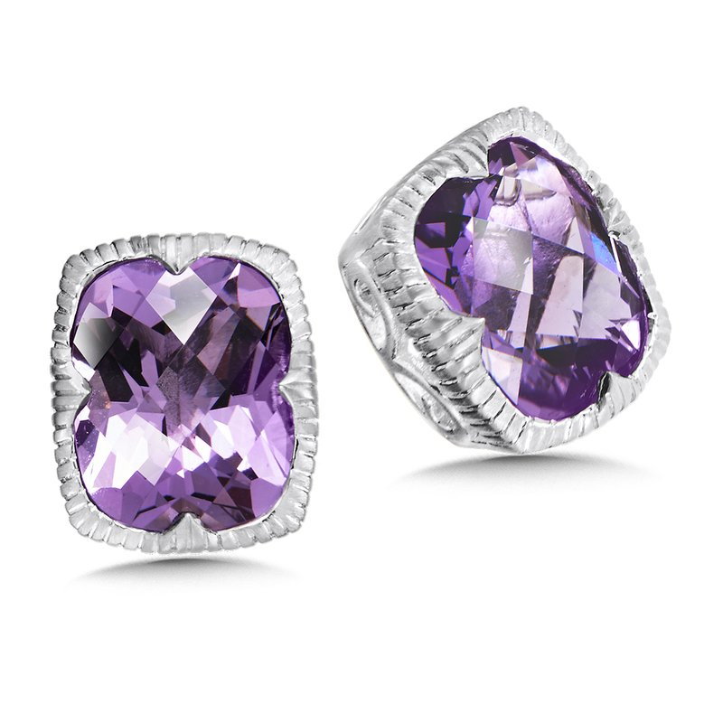 Colore Sg Sterling Silver Amethyst Stud Earrings