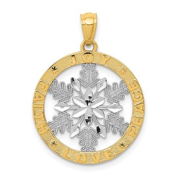 14k and Rhodium Joy/Peace/Love/Faith Snowflake Pendant