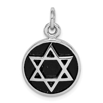 Sterling Silver Rhodium-plated & Antiqued Star of David Pendant