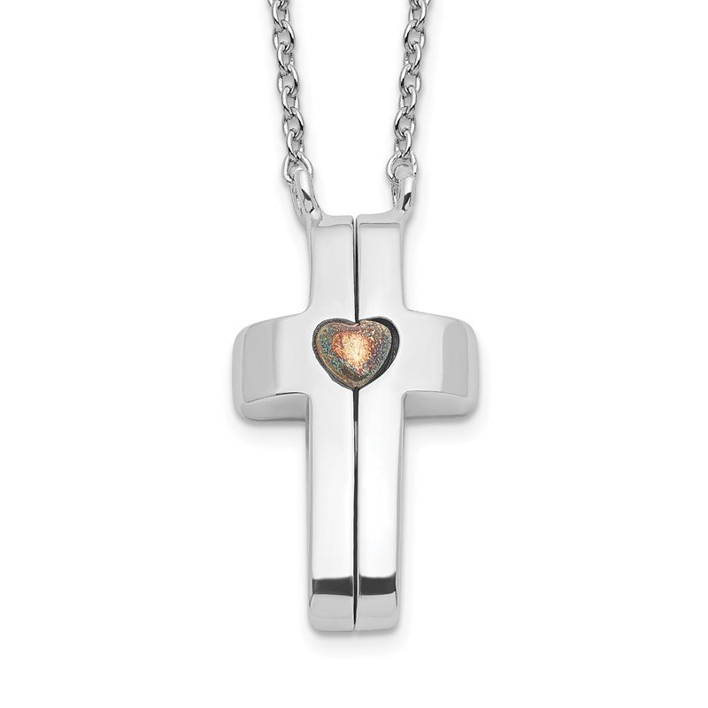 Quality Gold Sterling Silver Gold-plated Magnetic Cross w/ Heart Adjustable Necklace