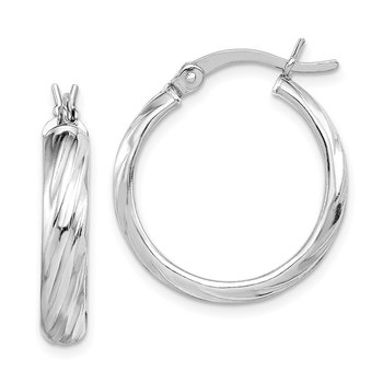 Sterling Silver Rhodium-plated 20mm Hoop Earrings