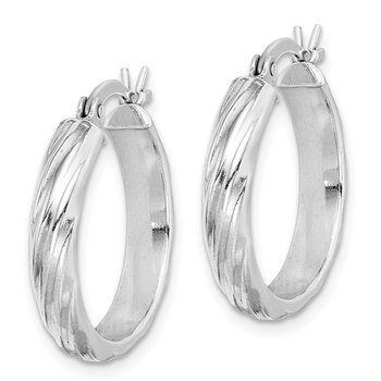 Sterling Silver Rhodium-plated Textured 20mm Hoop Earrings