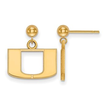 Gold-Plated Sterling Silver University of Miami NCAA Earrings