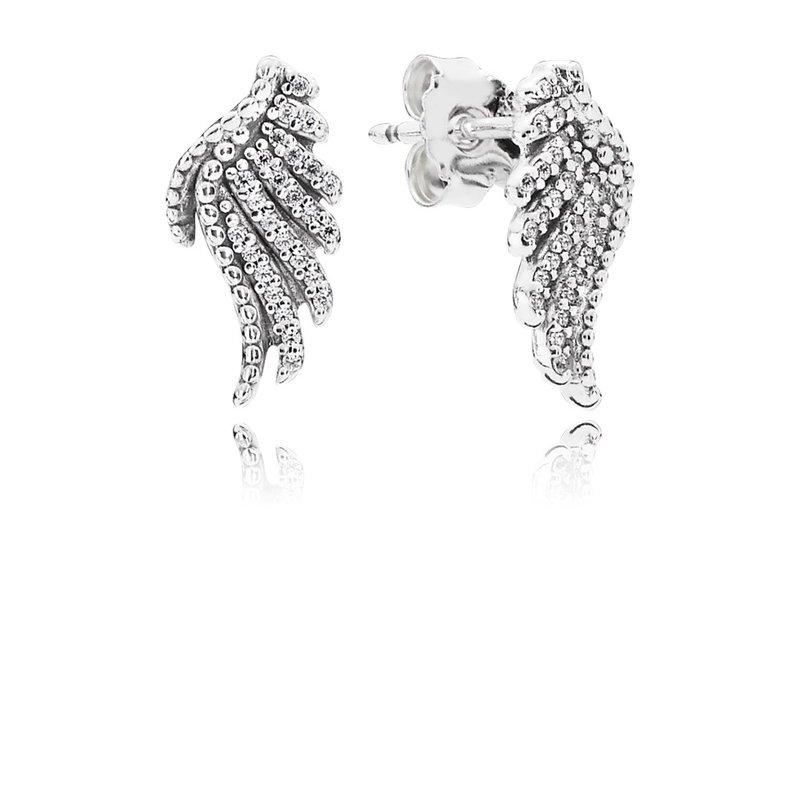 9ede6d600 PANDORA Majestic Feathers Stud Earrings, Clear CZ. Stock # 290581CZ