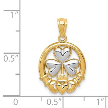 14k Rhodium-plated Shamrock and Claddagh Pendant