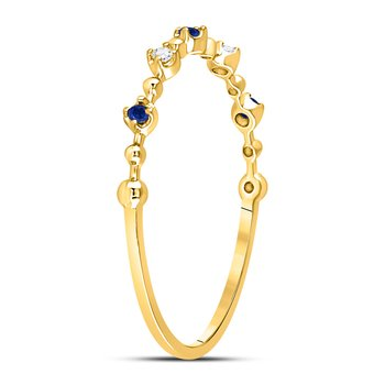 10kt Yellow Gold Womens Round Blue Sapphire Diamond Beaded Stackable Band Ring 1/20 Cttw