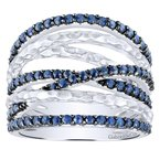 Gabriel Fashion 925 Sterling Silver Hammered Wide Band Sapphire Layered Ring