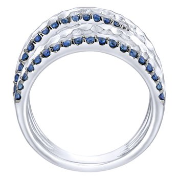 925 Sterling Silver Hammered Wide Band Sapphire Layered Ring