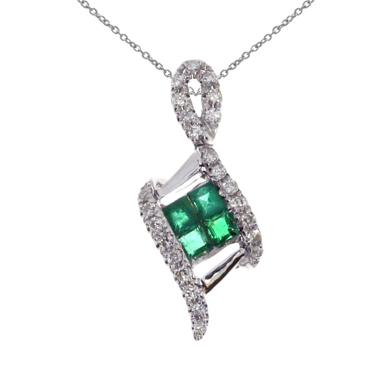 Color Merchants 14K White Gold Emerald Angled Pendant