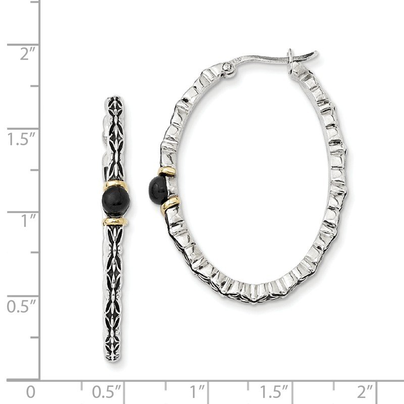 Shey Couture Sterling Silver w/14k 4.5mm Button Onyx Oval Hoop Earrings
