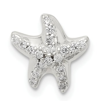 Sterling Silver CZ Star Fish Chain Slide