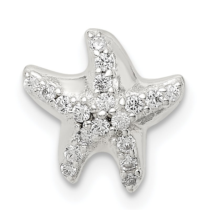 Quality Gold Sterling Silver CZ Star Fish Chain Slide