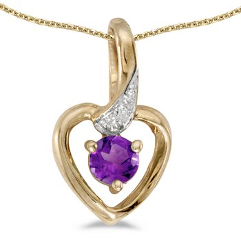 14k Yellow Gold Round Amethyst And Diamond Heart Pendant
