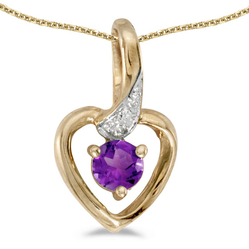 Color Merchants 14k Yellow Gold Round Amethyst And Diamond Heart Pendant