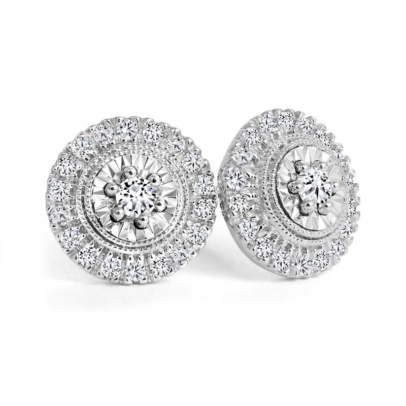 Halo Diamond Accent Stud Earrings