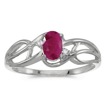 10k White Gold Oval Ruby And Diamond Curve Ring