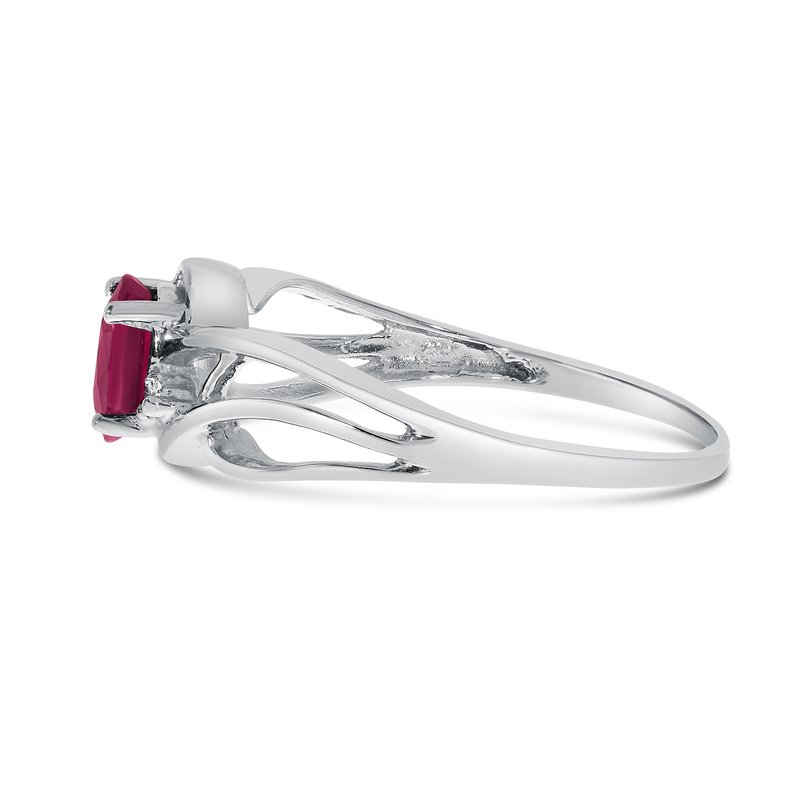 Color Merchants 10k White Gold Oval Ruby And Diamond Curve Ring