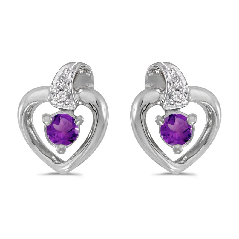 Color Merchants 10k White Gold Round Amethyst And Diamond Heart Earrings