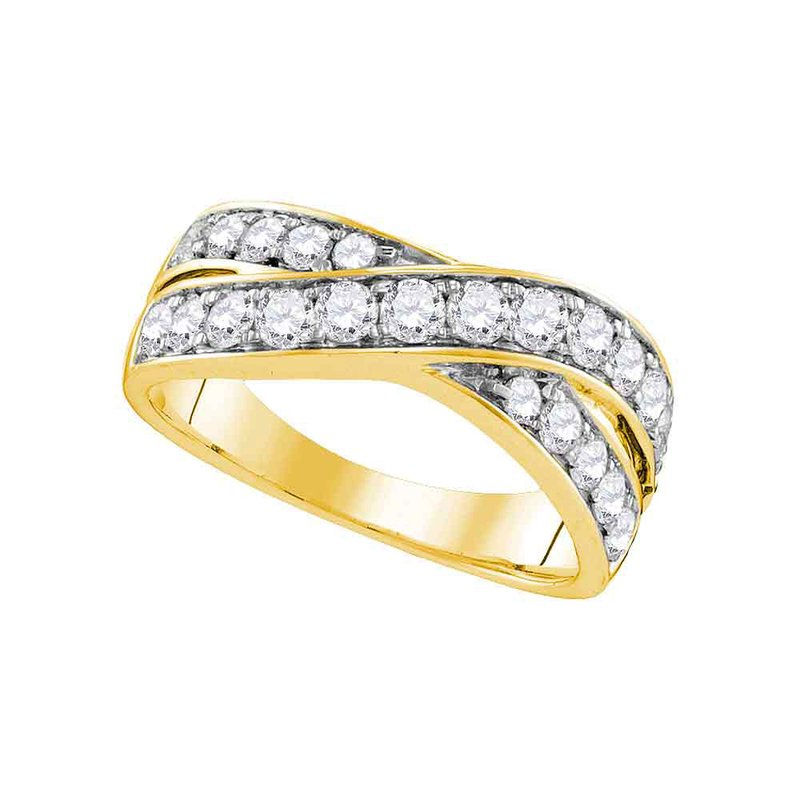 Gold-N-Diamonds 14kt Yellow Gold Womens Round Diamond Double Row Crossover Band 1.00 Cttw