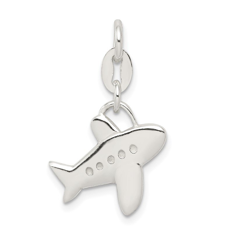 Quality Gold Sterling Silver Polished Airplane Charm
