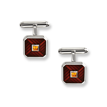 Sterling Silver Classic T-Bar Cufflinks-Brown. Citrine.