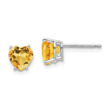 14k White Gold Citrine Heart Stud Earrings