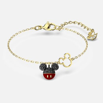 Mickey Bracelet, Black, Gold-tone plated