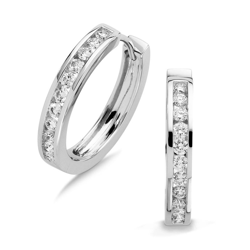 SDC Creations Channel set Diamond Hoops in 14k White Gold (1ct. tw.) JK/I1
