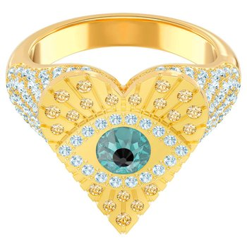 Lucky Goddess Heart Motif Ring, Multi-colored, Gold-tone plated