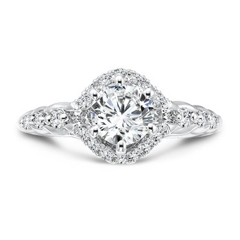 Modernistic Collection Six-prong Engagement Ring With Diamond Side Stones in 14K White Gold with Platinum Head (3/4ct. tw.)
