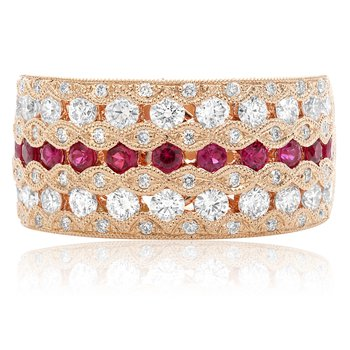 Seven Row Ruby & Diamond Band