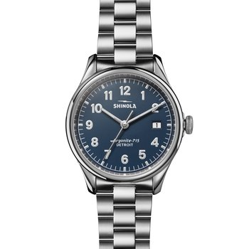The Vinton 38mm Stainless Midnight Blue Dial Bracelet Watch