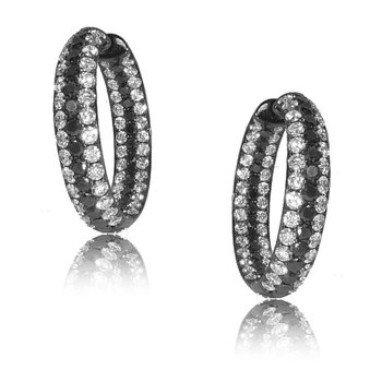 Gothica Black an White Diamond Hoops