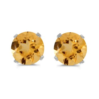 5 mm Natural Round Citrine Stud Earrings Set in 14k White Gold