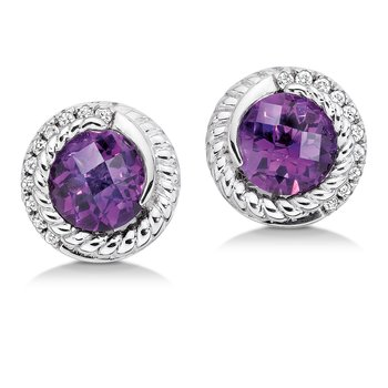 Sterling silver, purple amethyst and diamond earrings