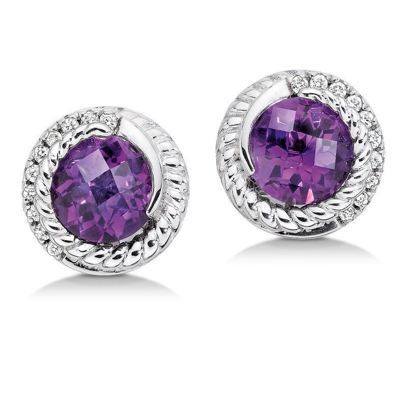 Colore Sg Sterling silver, purple amethyst and diamond earrings