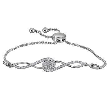 10kt White Gold Womens Round Diamond Bolo Bracelet 1/2 Cttw