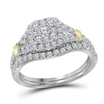 14kt White Gold Womens Round Diamond Cluster Bridal Wedding Engagement Ring Band Set 7/8 Cttw
