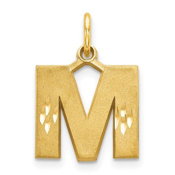14KY Satin Diamond-cut Letter M Initial Charm