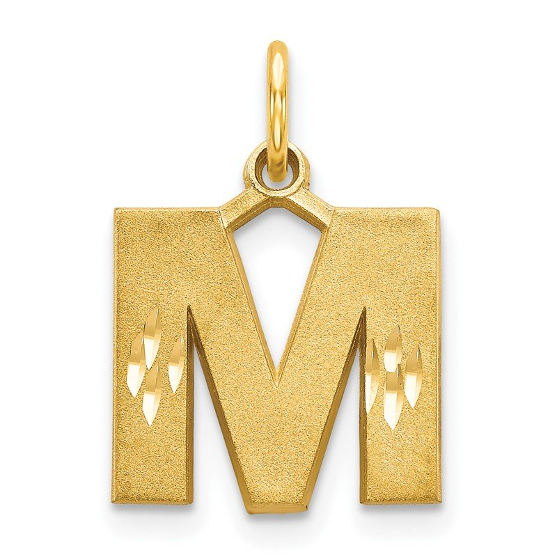 Quality Gold 14KY Satin Diamond-cut Letter M Initial Charm
