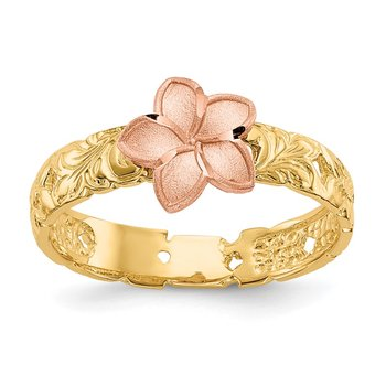 14K Two Tone Plumeria Baby Ring